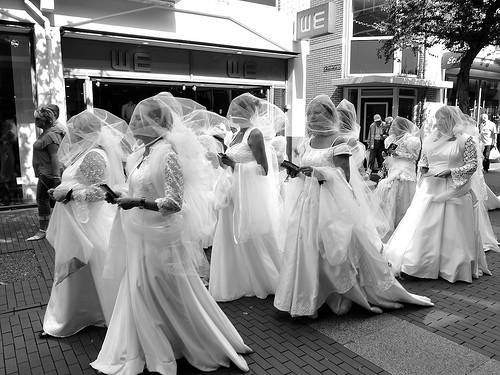 Brides walking