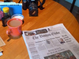 Wedding business in the newspaper read with coffee in the morning