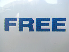 A sign in blue that reads free
