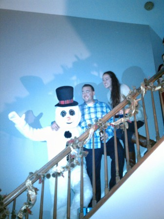 frosty at stairs