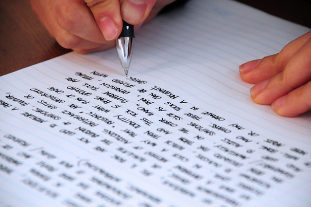 writing in a notepad