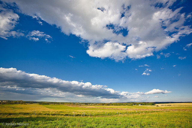 cloud and fields