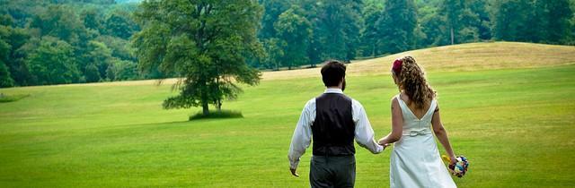 Walking wedding couple