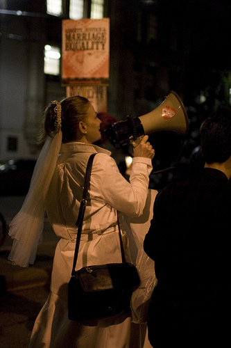 ladies holding a megaphone