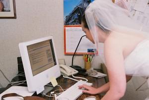 bride using computer