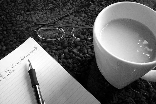 note and coffee