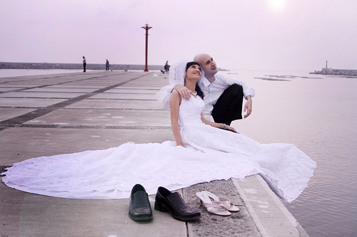 Bride and groom at the bay