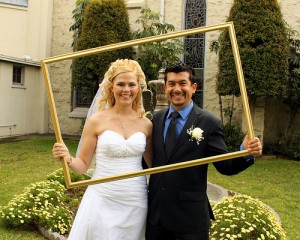 Bride and groom in the frame