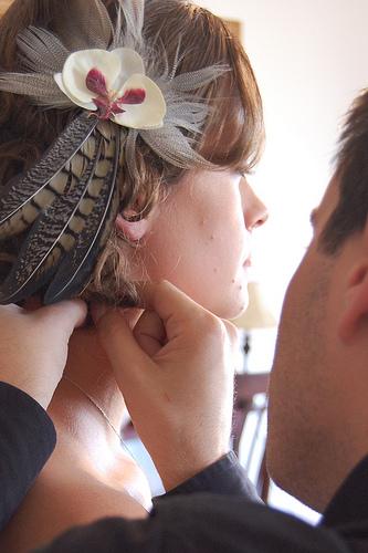 bride doing her hairdress