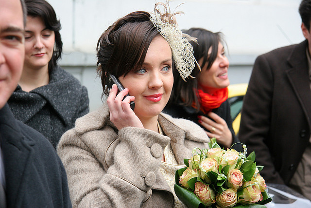 bride talking on phone