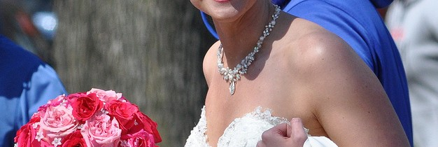 Bride with cherry blossom