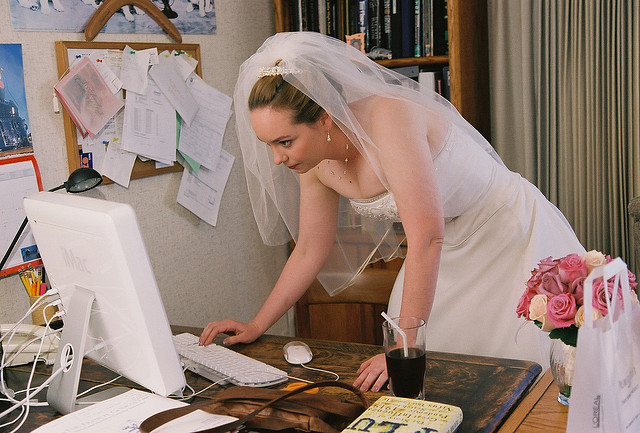 Bride Checking Internet