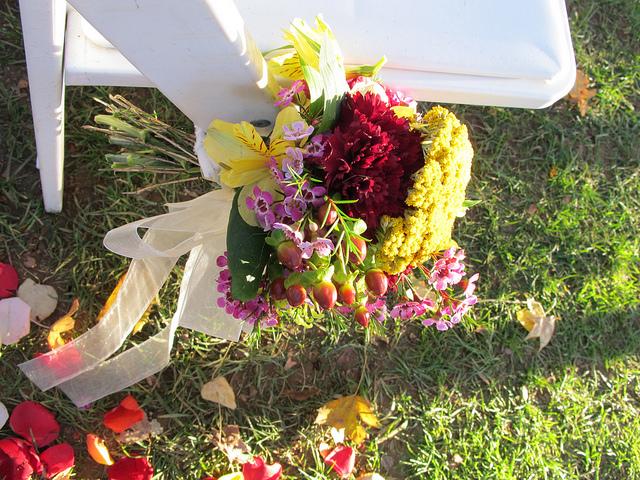 bouquet on floor