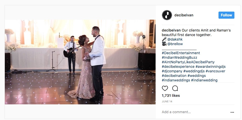 Instagram post showing newly weds dancing at receptions